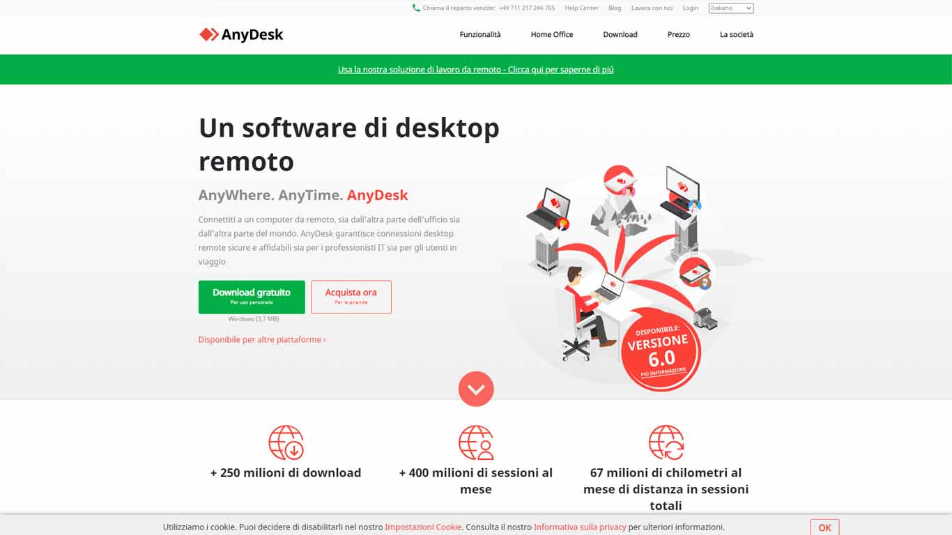 screenshot homepage anydesk desktop remoto