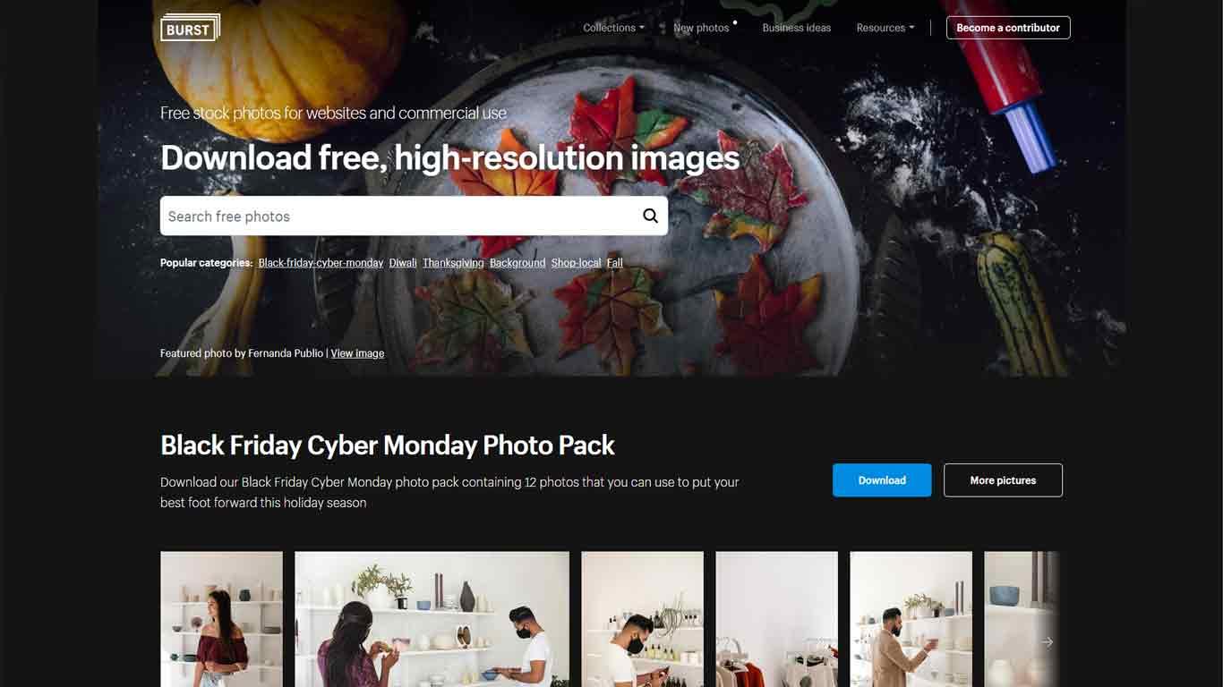 homepage di burst immagini senza copyright