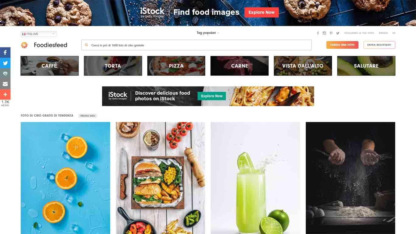 homepage foodiesfeeds sito di immagini senza copyright