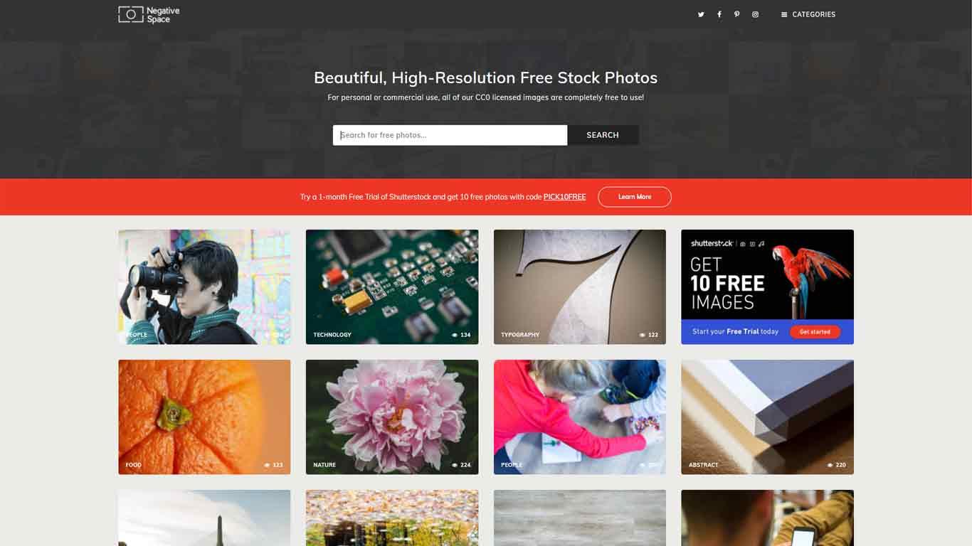 homepage di negative space