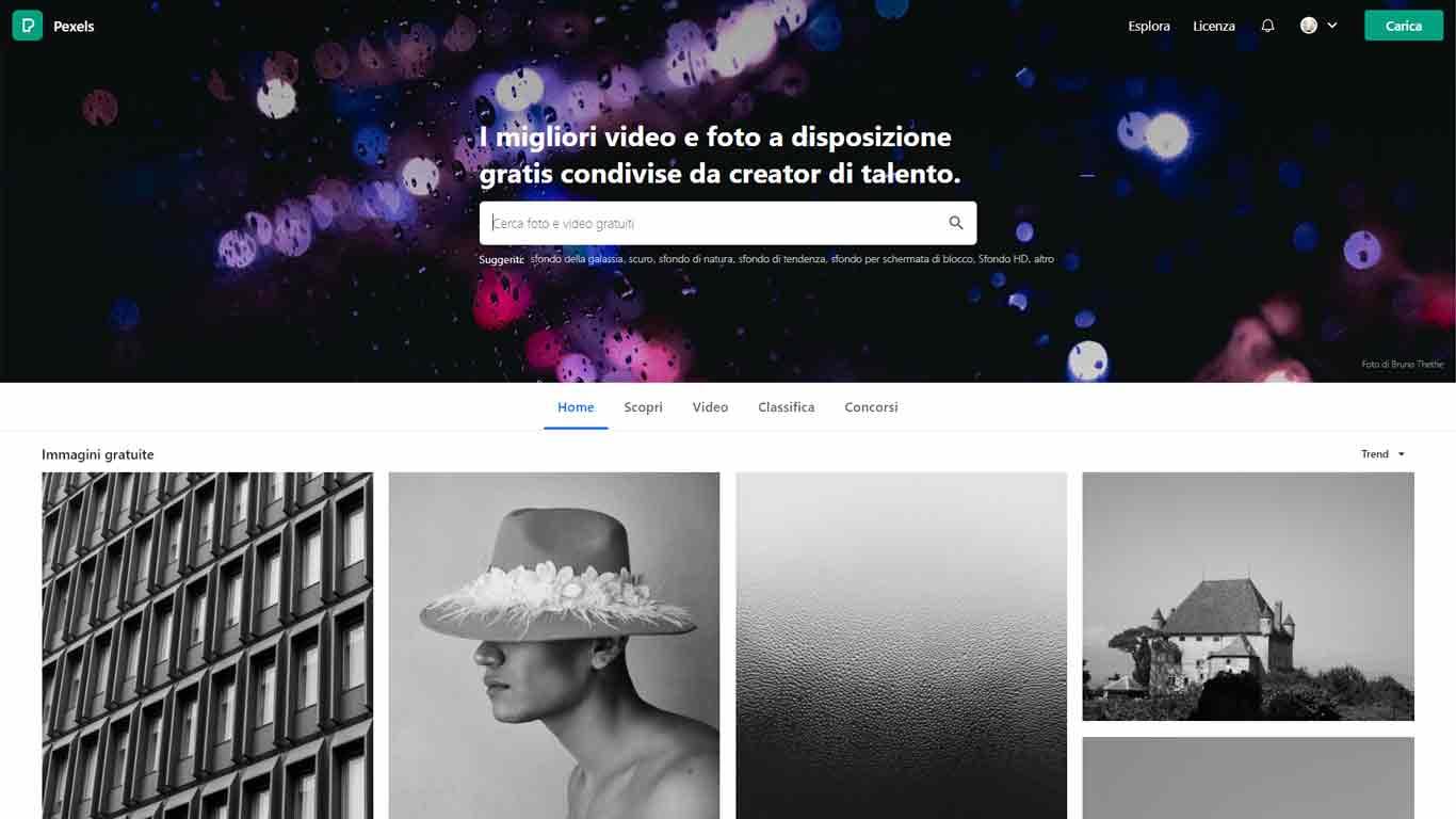 homepage pexels sito di immagini senza copyright
