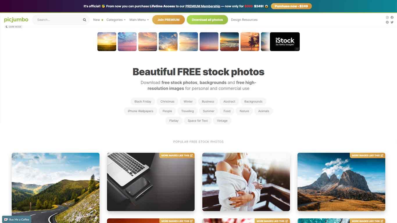 homepage picjumbo sito con immagini senza copyright