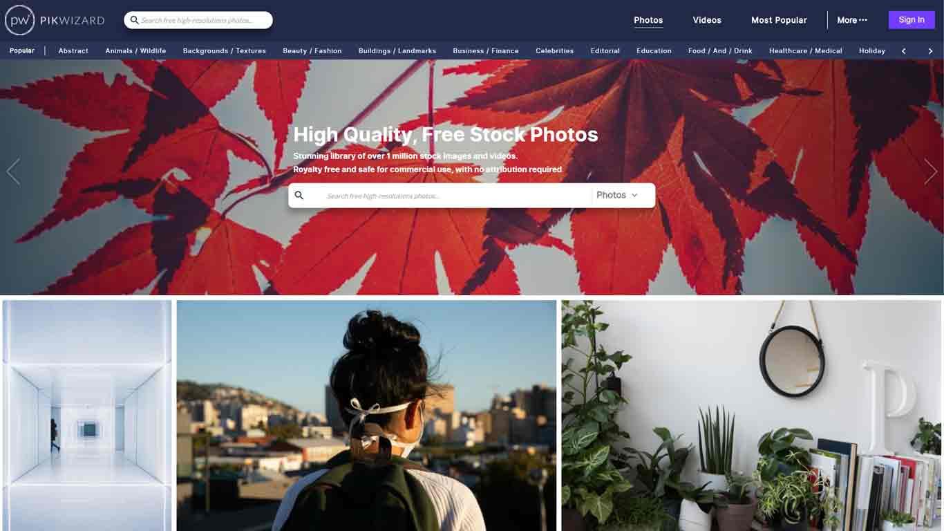homepage pikwizard sito immagini senza copyright