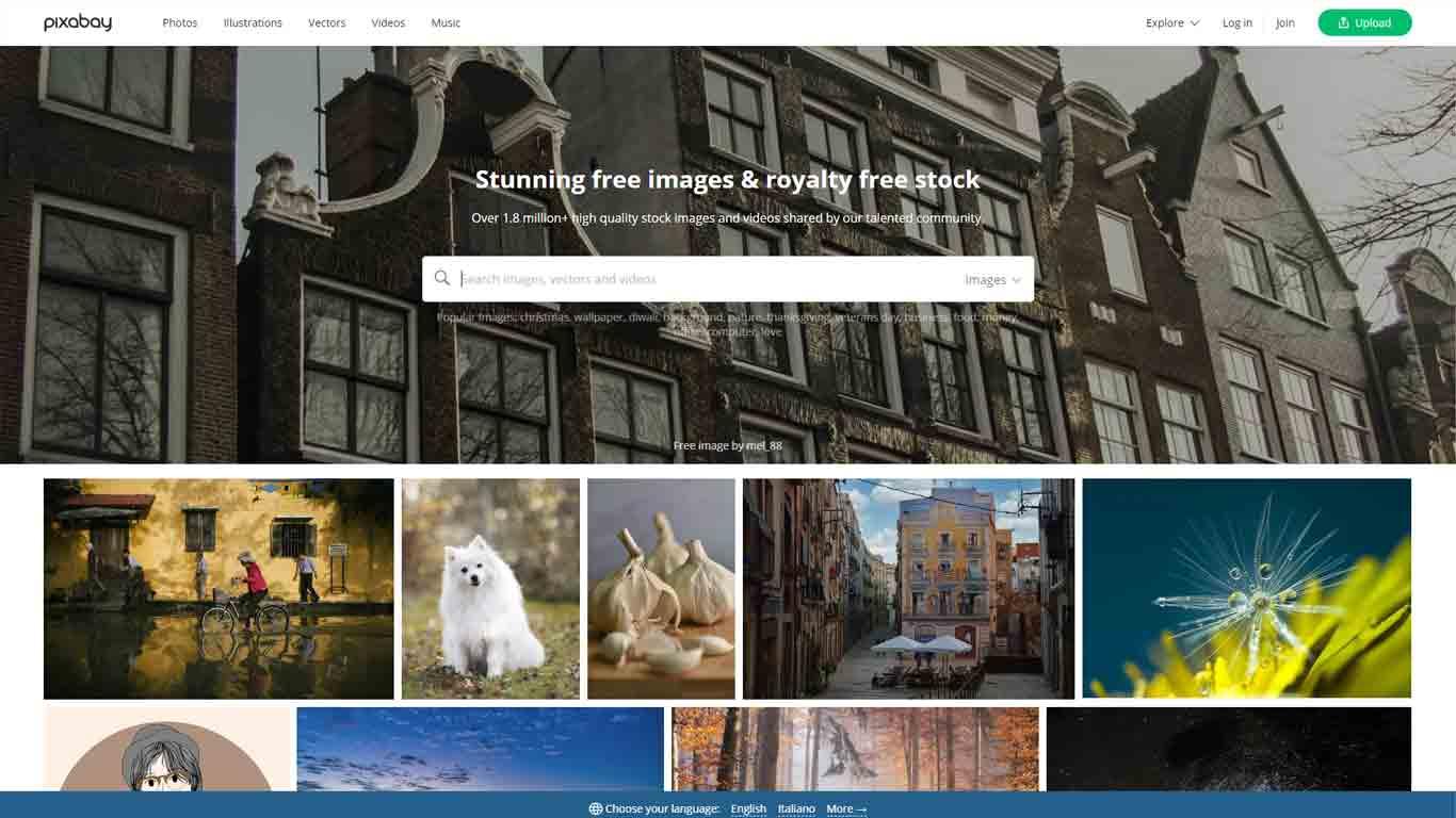 homepage di pixabay sito di immagini senza copyright