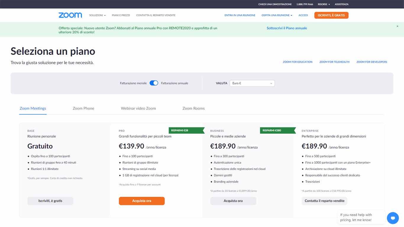 prezzi applicazione zoom cloud meeting