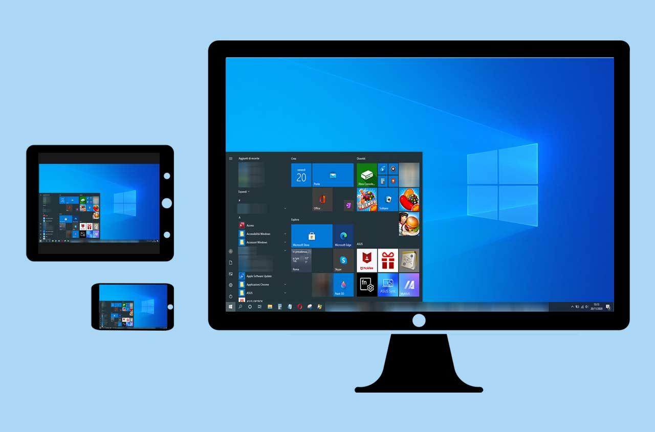 copertina desktop remoto con illustrazione di pc controllato via tablet e telefono