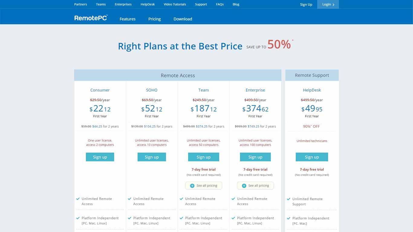 screenshot listino prezzi remote pc
