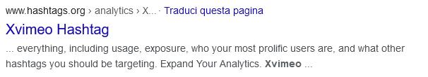 quinto risultato della serp di google con la query xvimeo