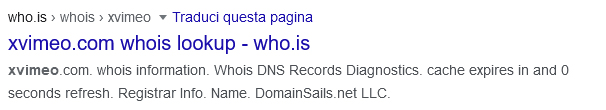 sesto risultato della serp di google con query xvimeo