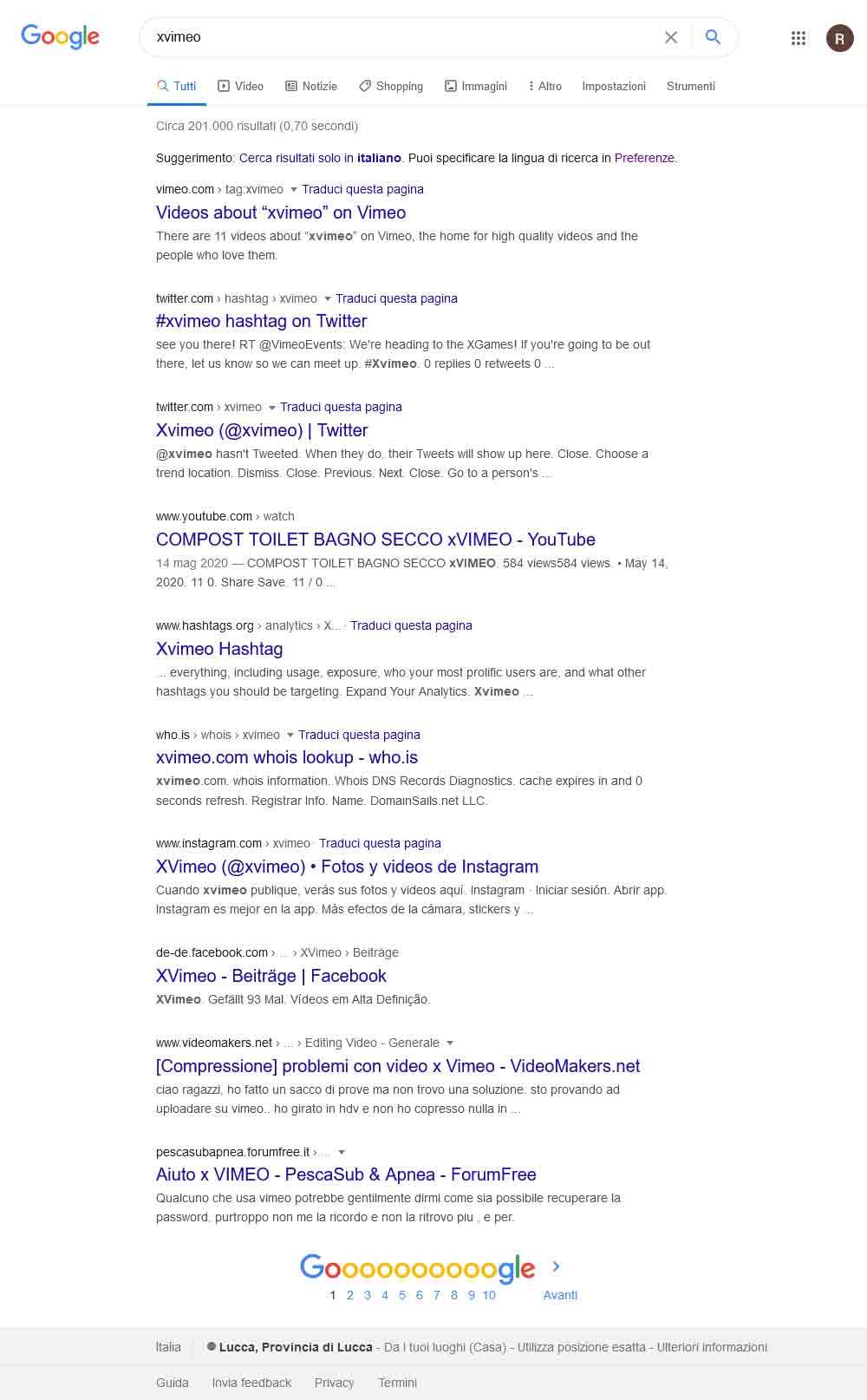 serp su google della query xvimeo