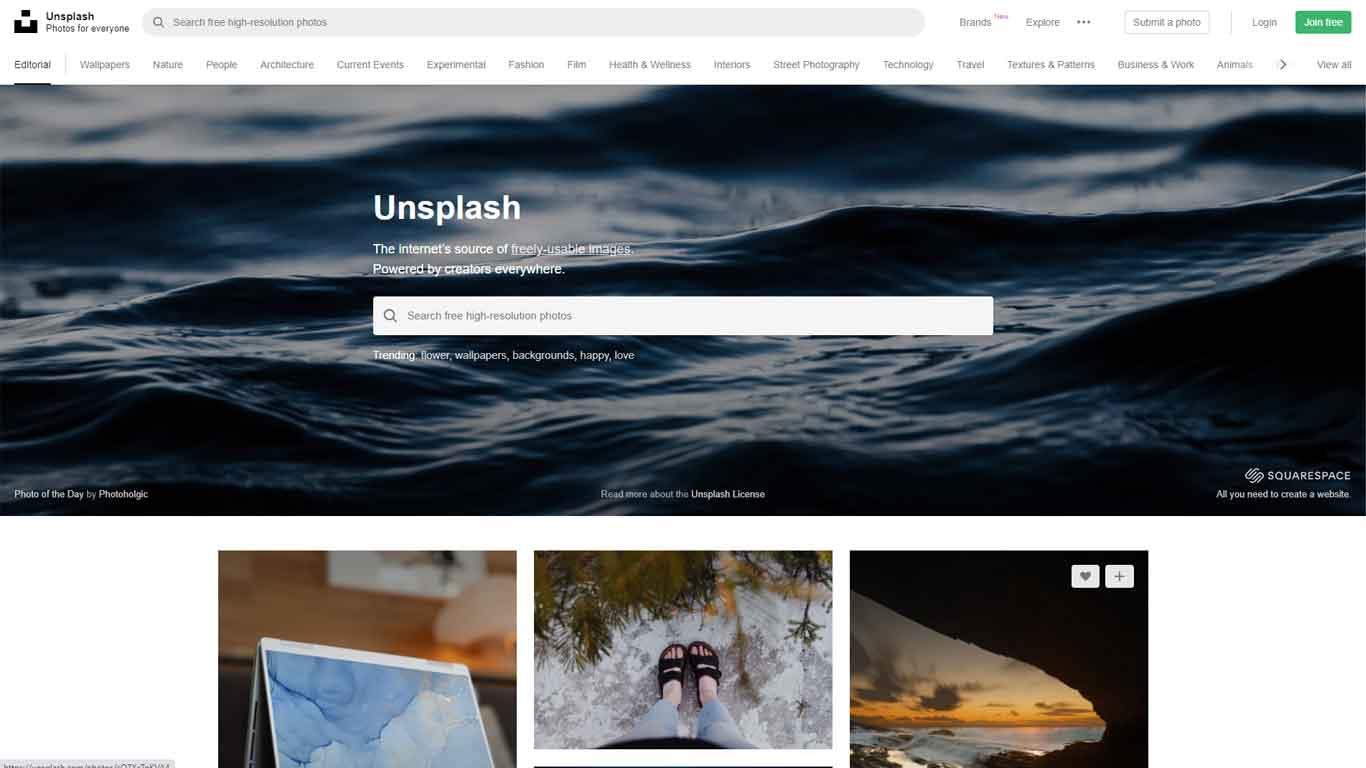 homepage di unsplash sito di immagini senza copyright